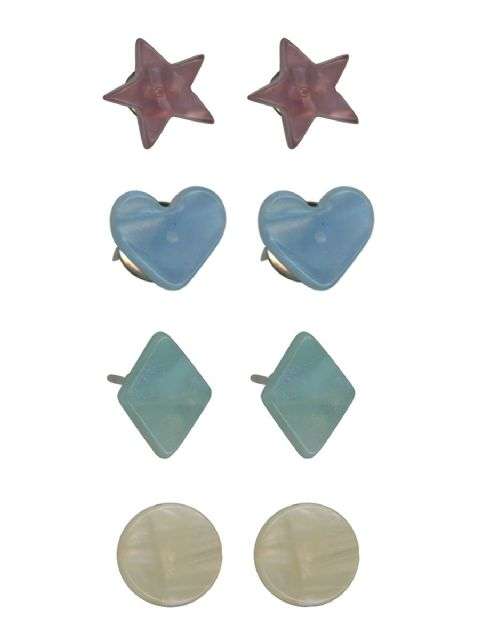 DIANA RESIN STUD EARRINGS PACK BLUE HEART